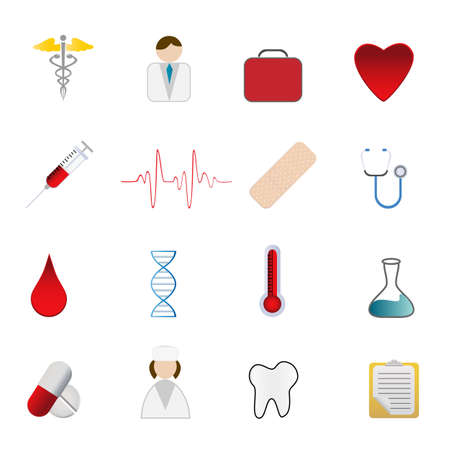 Medical and health care symbols icon set Stock Vector - 12305342