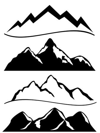 Diverses montagnes en noir et blanc