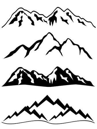 neve montagne: Montagne con cime innevate Vettoriali