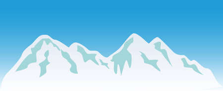 Snowy mountain peaks in winter Vector