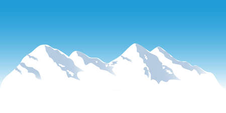 Snowy mountain tops in winter Vector