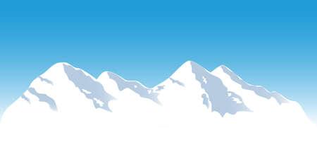 top: Snowy mountain tops in winter
