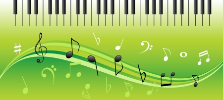 Music notes on swirls with piano keys Vector