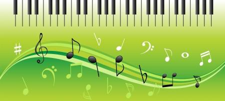 clave de fa: Notas de la m�sica en remolinos con las teclas del piano Vectores