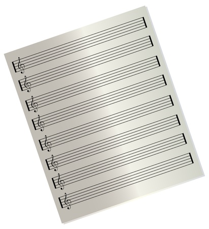clefs: Blank music sheet with treble clefs Illustration