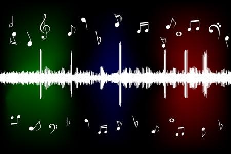 clave de fa: La onda de sonido con notas musicales