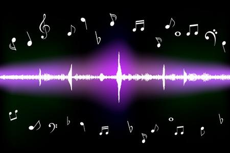 clave de fa: La onda de sonido con notas musicales diferentes