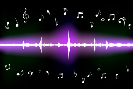 Sound wave with various music notes Vector