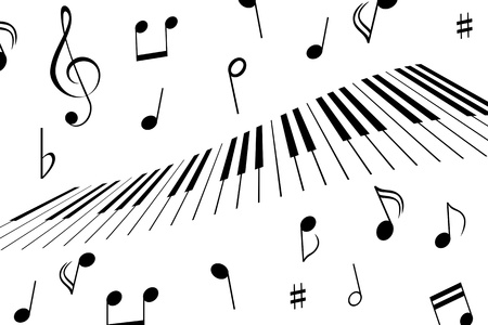 Music notes around the piano keys