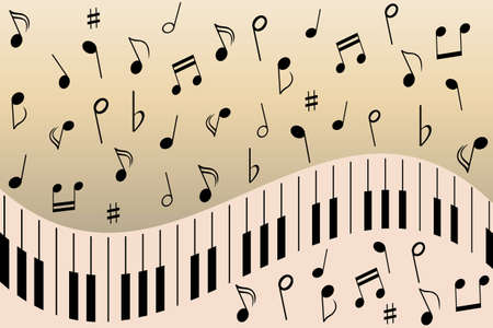 key signature: Various music notes on piano