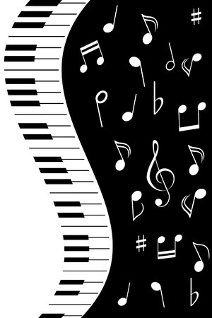 key signature: Various music notes with piano keys