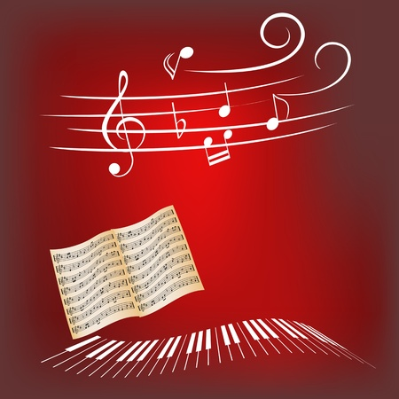 Piano keys, sheet music and music notes Иллюстрация