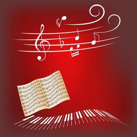 Piano keys, sheet music and music notes Illustration