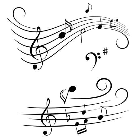 clave de fa: Varias notas musicales en pentagrama Vectores