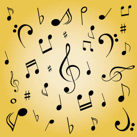 crotchets: Musical notes spread on gold background