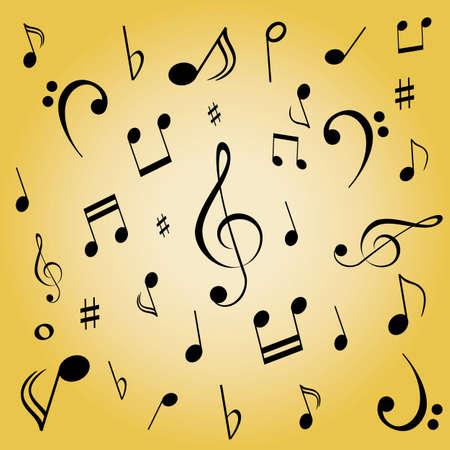 Note musicali sparse su fondo oro Archivio Fotografico - 12305295