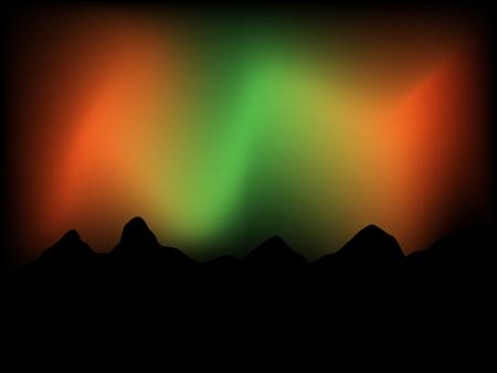 Northern lights behind mountain range