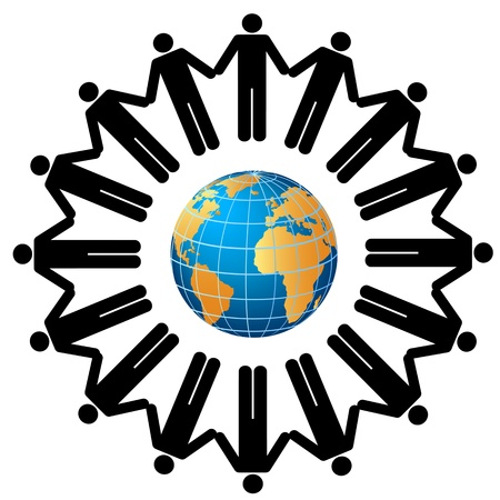 Mensen over de hele wereld hand in hand Stock Illustratie