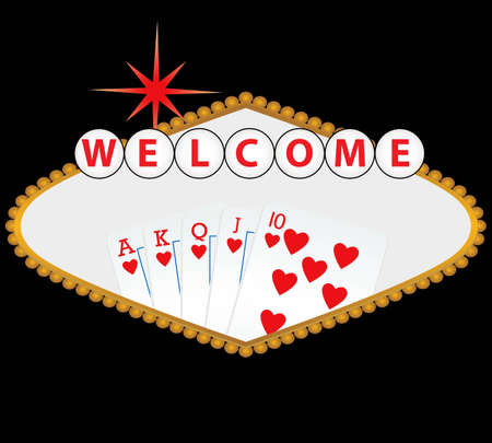 royal flush: Welcome to Las Vegas sign with royal flush Illustration