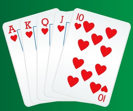 royal flush: Poker cards showing royal flush Illustration