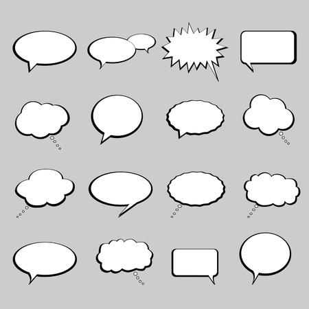 burbujas de pensamiento: Habla, habla y pensamiento burbujas y globos Vectores