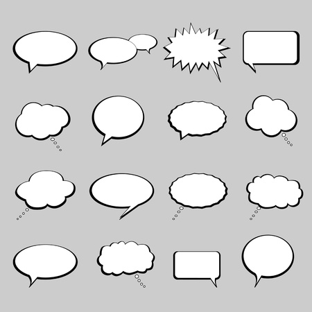 Talk, speech and thought bubbles and balloons Vector