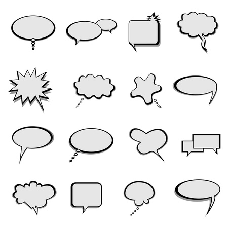 Talk, thought and speech balloons or bubbles