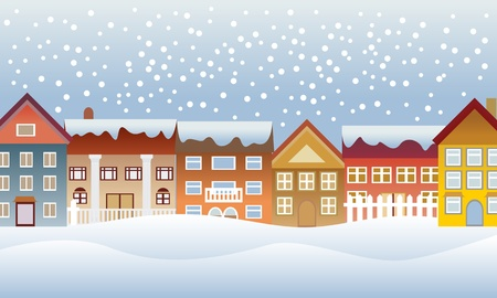 Winter town with snow pouring down Stock Vector - 12305340