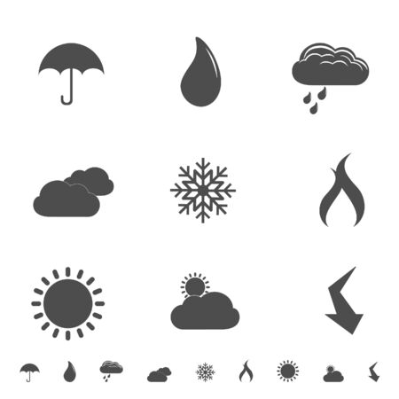 Weather icons and symbols silhouettes Stock Vector - 12305262