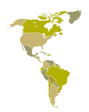 Kaart van Zuid-en Noord-Amerikaanse landen Stock Illustratie