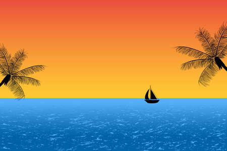 Blue ocean at sunset with palm trees