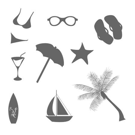 beach umbrella: Beach and summer vacation icons in gray Illustration