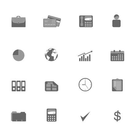 Grayscale business symbols icon set Ilustracja