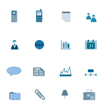 Business icons in blue tones Ilustracja