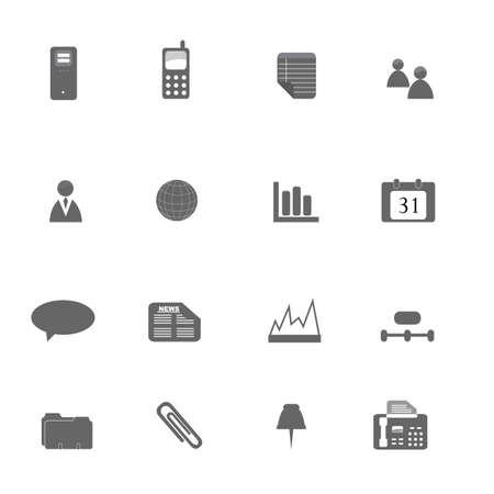 Various business icons in silhouette