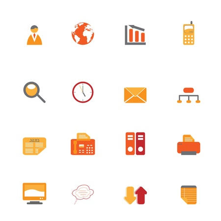 fax: Various business icons in orange and red tones Illustration