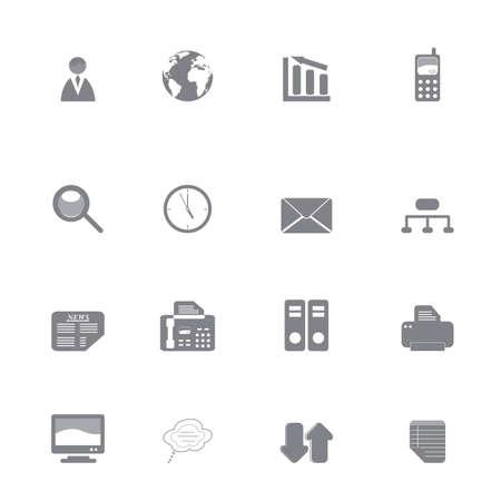 faxger�t: Silhouette Reihe von verschiedenen Business-Icons oder Symbole Illustration
