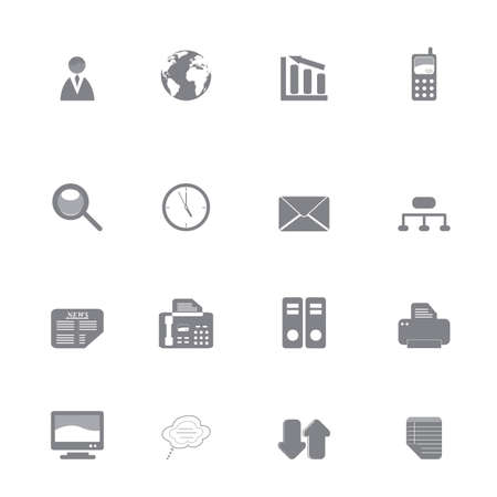 fax machine: Silhouette set of various business icons or symbols Illustration