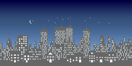 Urban skyline with buildings and skyscrapers at night Vector