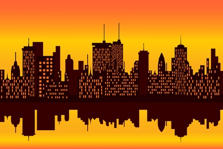 city lights: City skyline at sunset or sunrise with reflection Illustration