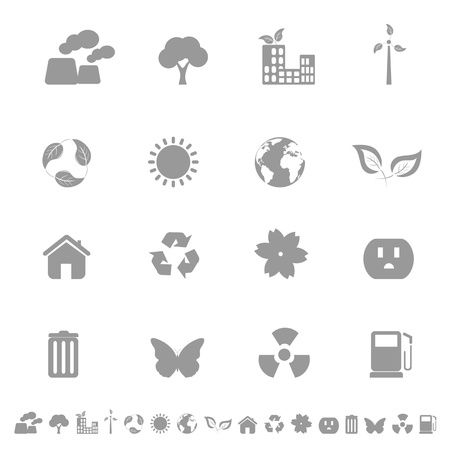 Environment and ecology related icons in grayscale