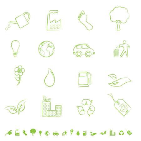 green light bulb: Eco and clean environment symbols Illustration
