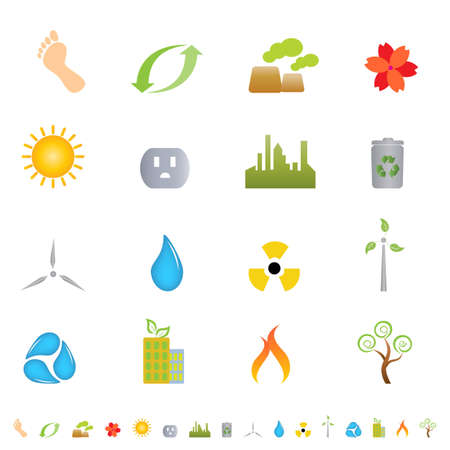 wind turbine: Green environment related icon set Illustration