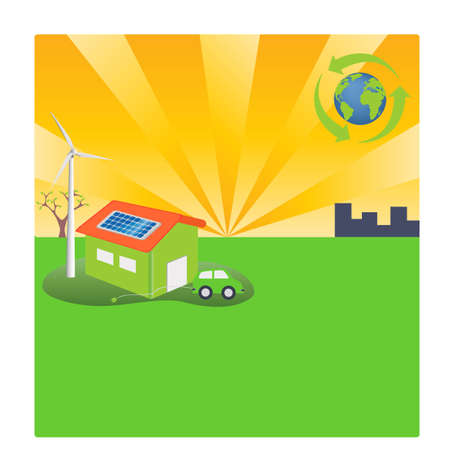 windturbine: Green lifestyle with solar powered house and electric car
