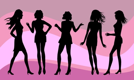 Silhouettes of various sexy women on purple background Stock Illustratie