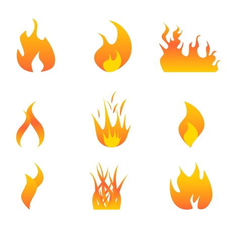 Various hot flames icon set