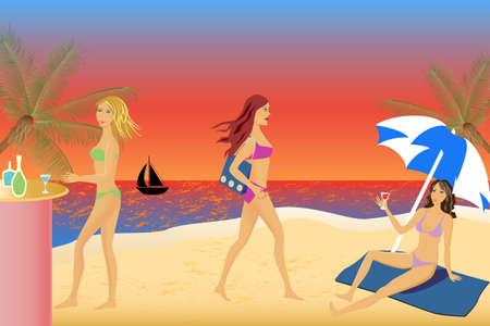 Las mujeres relajarse y divertirse en la playa Ilustración de vector
