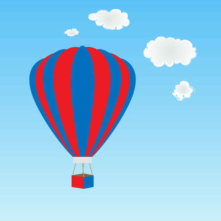 Hot air balloon in red, white and blue