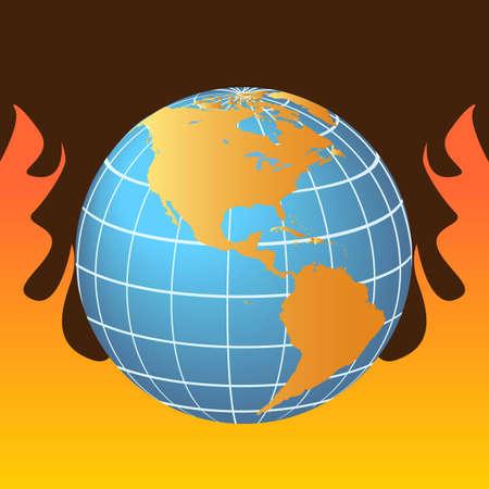 Globe in flames representing global warming