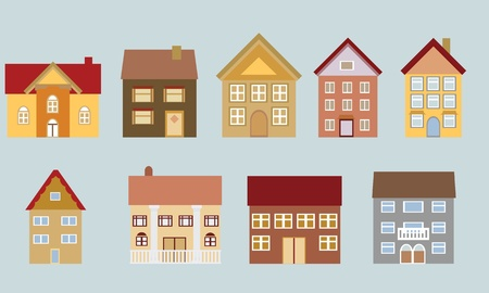 suburb: Various houses with different architectural styles Illustration